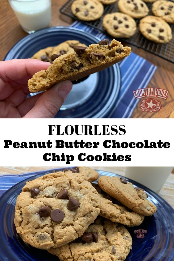 5-Ingredient Peanut Butter Chocolate Chip Cookies Without Flour