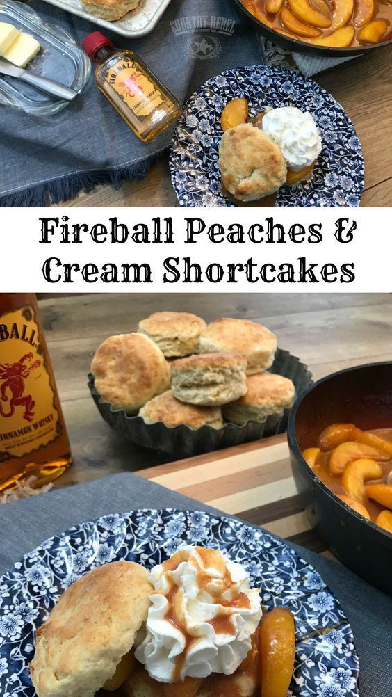 Homemade Peaches & Cream Shortcakes With Fireball