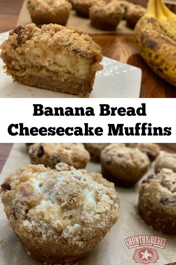 Banana Bread Cheesecake Muffins Recipe - For Brunch Or Dessert