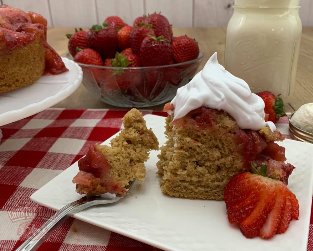 Strawberry Upside-Down Cake Recipe Using Dark Brown Sugar