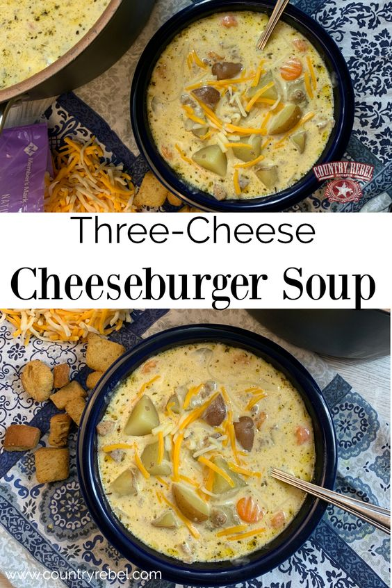Creamy 3-Cheese Cheeseburger Soup Recipe - Packed With Flavor